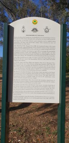 Information Sign marking the end of the Remembrance Driveway