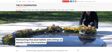 Coverage and analysis of the War Correspondents Memorial