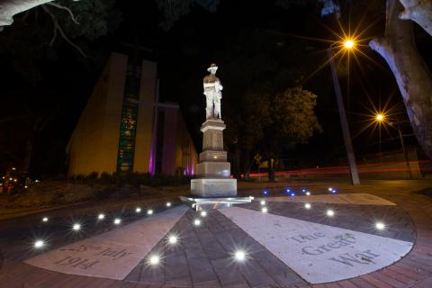 Campbelltown Soldiers' Memorial at night