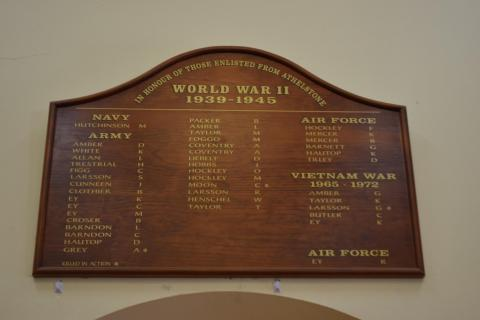 Honour Board above the doorway inside the Athelstone Community Hall