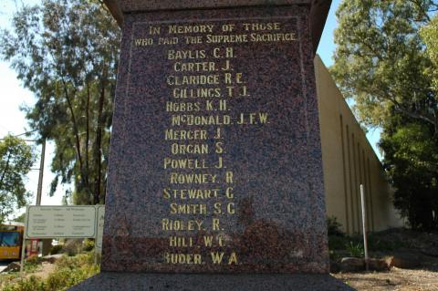 Campbelltown Soldiers' Memorial Names Panel 1