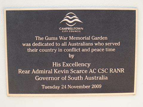 The Gums War Memorial Garden Dedication Plaque