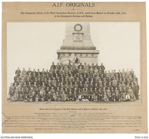 AIF Originals, First reunion of the Tasmanian contingent of the First Australian Division, AIF in front of the Hobart cenotaph