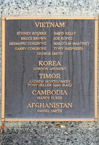 Commemorating those who served in Vietnam, Korea, Timor, Cambodia and Afghanistan