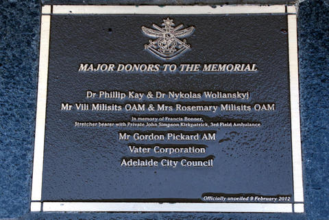 Dedication Plaque of the Australian Defence Force Health Services Memorial