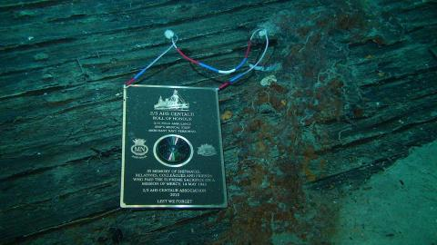 Plaque with CD of Roll of Honour underwater on the wreckage of the AHS Centaur in 2010