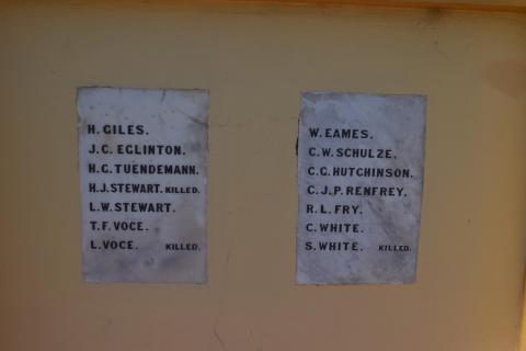 Plaque of Soldier's names attached to the front porch of  Athelstone Community Hall