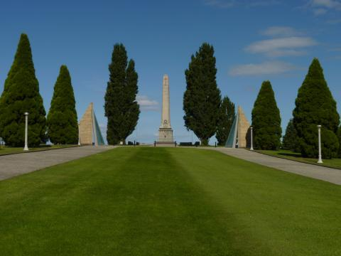 The serene vista of the Cenotaph and the Victoria Cross Memorial