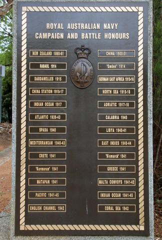 RAN Battle Honours Board at Royal Australian Navy Memorial