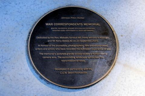 Dedication Plaque for War Correspondents Memorial