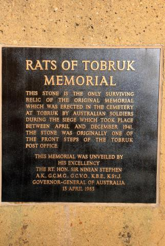 Rats of Tobruk Memorial Dedication Plaque