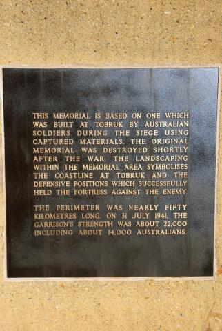 Rats of Tobruk Memorial Descriptive Plaque