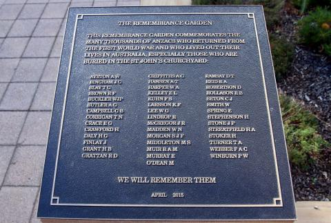 Remberance Garden Memorial Plaque at St John's Aglican Church, Reid ACT
