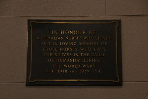 Service Nurse's Memorial Plaque in St John's Anglican Church, Reaid ACT