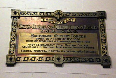 General Sir William Bridges Memorial Plaque, St John's Anglican Church, Reid ACT