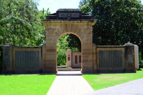 The Victory Memorial Gardens Arch marks the entry to the gardens and leads immediately to the Eternal Flame