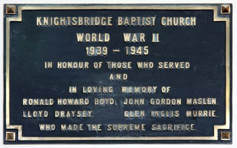 In honour of those from Knightsbridge Baptist Church who lost their lives in WW2