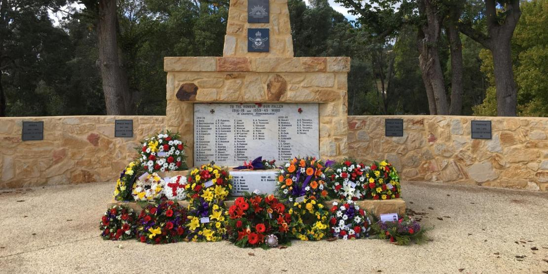 Donnybrook Memorial with commemorative flowers