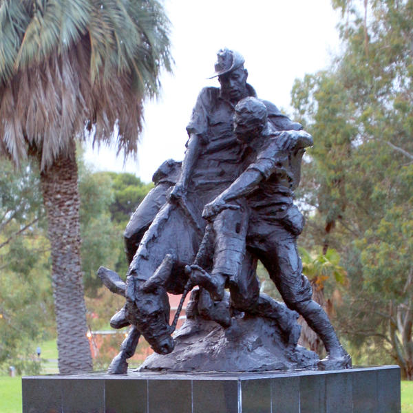 Statue of Simpson and his Donkey representing the work of the Australian Defence Force Health Services