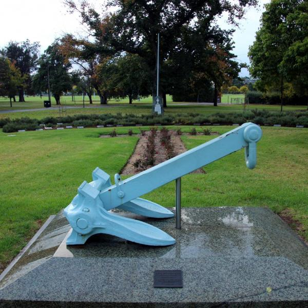 Naval Anchor at head of Naval Memorial Garden located in North Adelaide Peace Park