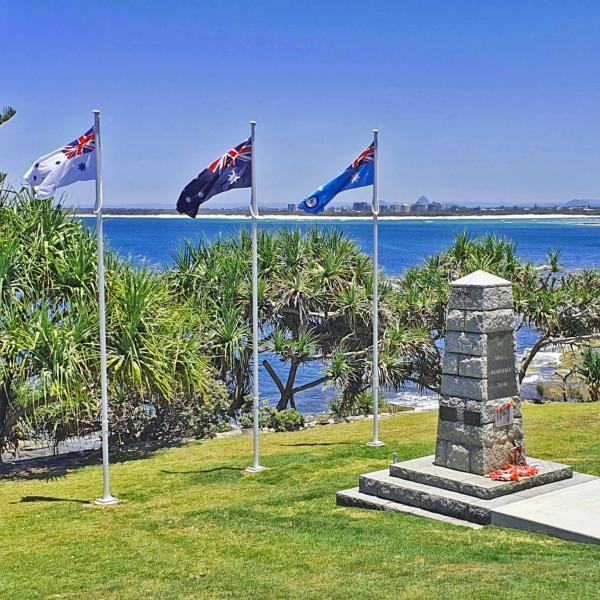 Three new flagpoles installed November 2020 by the Sunshine Coast Regional Council