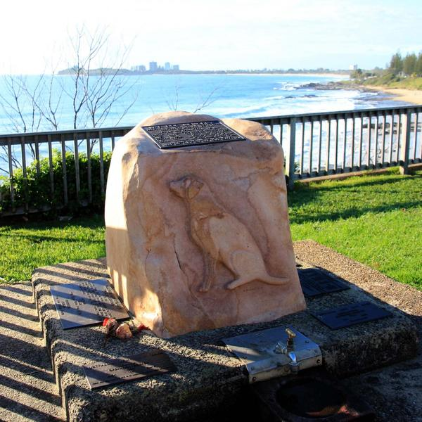 War Dog Memorial looking to the south towards Mooloolaba