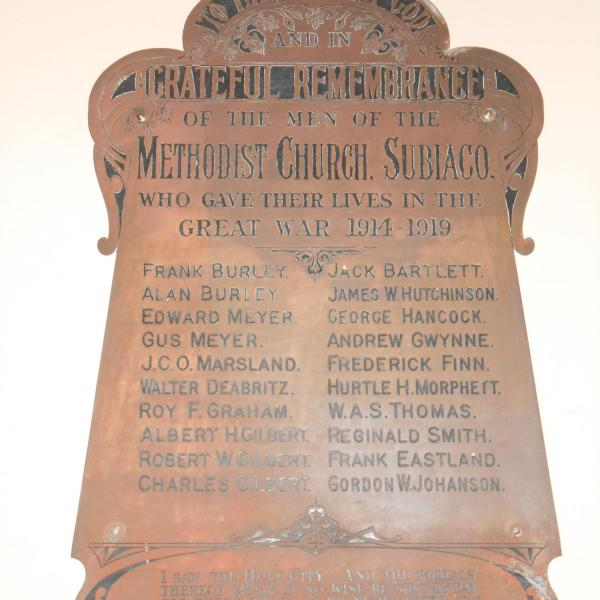 Subiaco Methodist Church Honour Roll