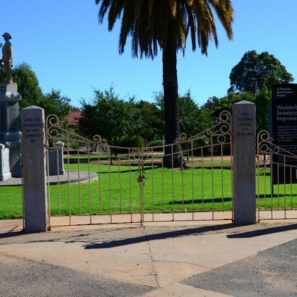 Memorial Gates form the entrance to Jacka Park and are part of the memorial