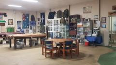 Inside premises with memorabilia and honor rolls