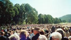 Part of the crowd that attended the opening on the 18th of April 2000