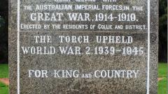 Collie War Monument Main Inscription - south side marble plaque