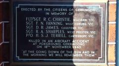 Commemorating those who died in a nearby aircraft accident