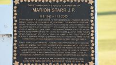 Commemorating Marion Starr, a respected local citizen
