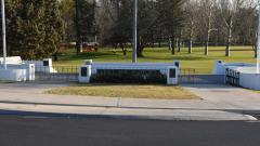 The Memorial forms a pedestrian entrance to Holman Park