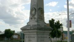 The right side and rear of the Memorial obelisk