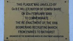 Boomerang Recruiting March re-enactment plaque