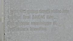 "One of the pillar inscriptions - ""I saw the going down of the sun..."""