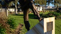 The sculpture of Rattey in the action that saw him awarded a Victoria Cross