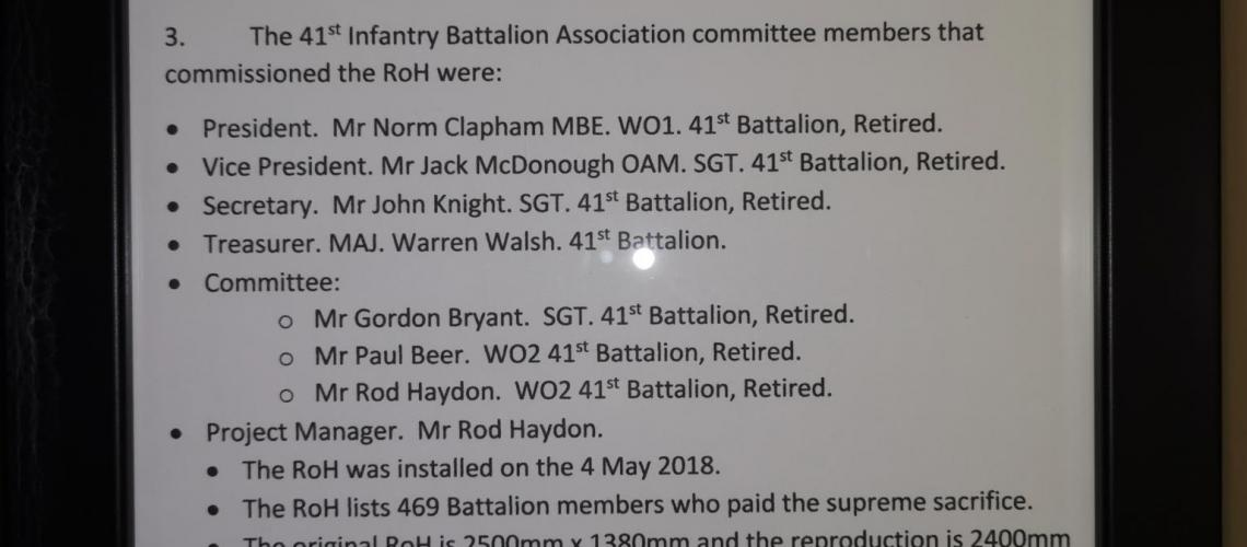 41st Battalion 1st AIF Honour Roll Reproduction story