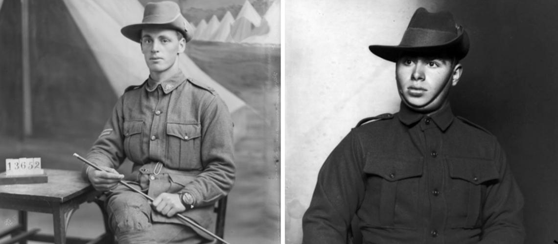 Sergeant John Ross and Private Andrew Neal, two of the men commemorated at Tambo Upper. (AWM photos)