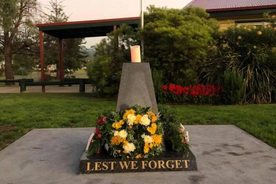 Cenotaph at Kearsley Remembrance Garden - Anzac Day 2020