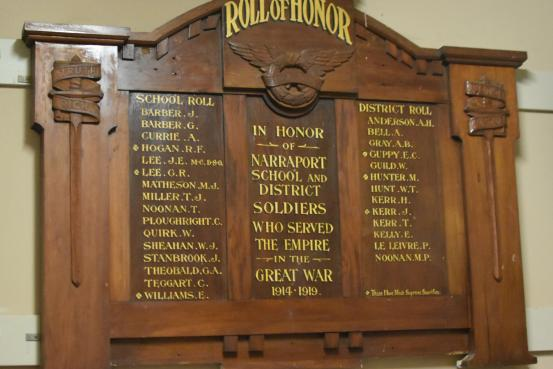 Naraport School and District WW1 Honour Roll