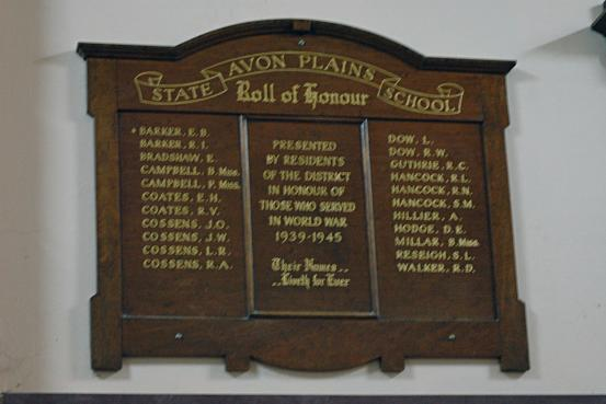 Avon Plains State School Roll of Honour WW2