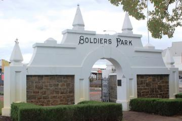 Collie Soldiers Park Entrance Gates - view from rear