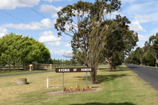 The Avenue of Honour lines the entrance road to East Sale RAAF Base