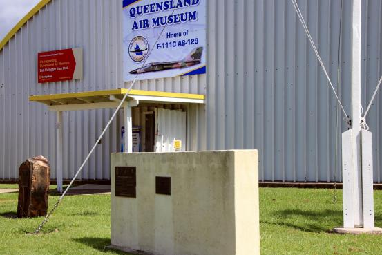 RAAF Beaufighter and Boston Squadrons, RAAF Transport Flight and RAN Fleet Air Arm Memorial Plaques located outside the Queensland Air Museum Building