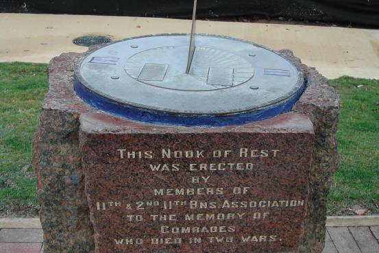 The Memorial sundial, commemorating the 11th and 2/11th Australian Infantry Battalions