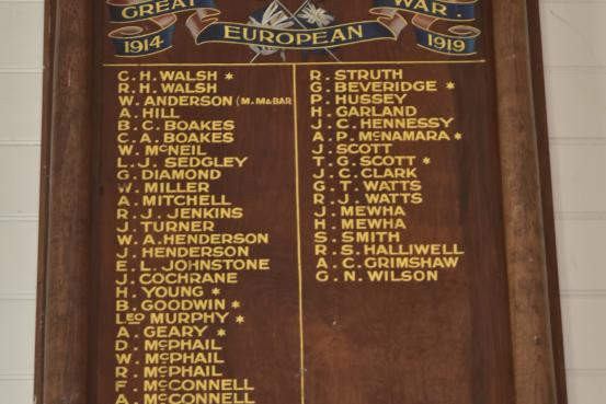 Grassmere Hall Honour Roll