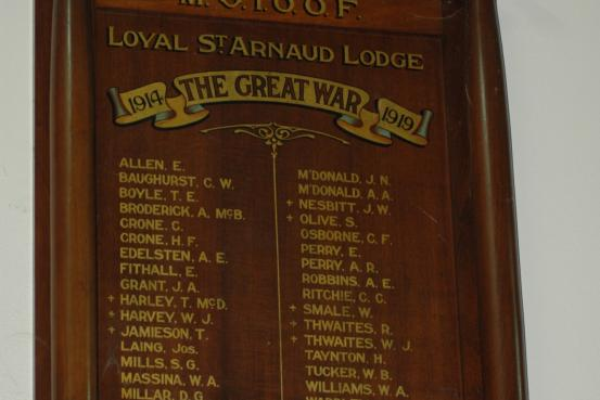 M.U.I.O.O.F. Loyal St Arnaud Lodge Roll of Honour