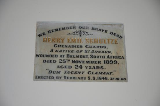 Henry Schultze Memorial Tablet